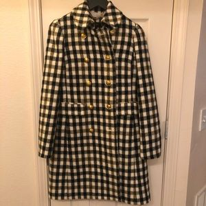 J Crew plaid coat with gold buttons